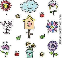 Doodle of spring set object