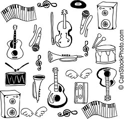 Doodle of stock music set