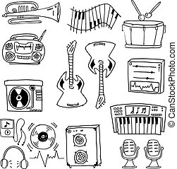 Doodle of tool music set