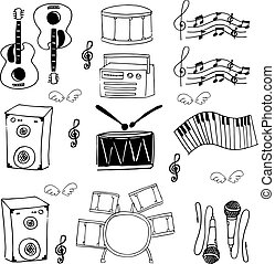 Doodle of tool music stock collection vector