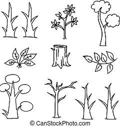 Doodle of tree cartoon hand draw