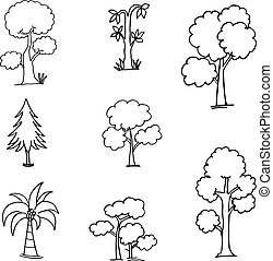 Doodle of tree collection hand draw