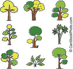 Doodle of tree set different