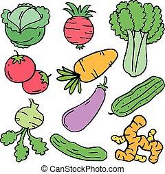 Doodle of vegetable set object
