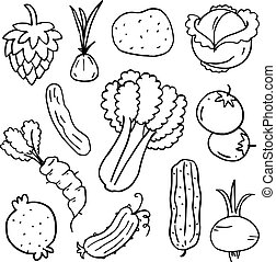 Doodle of vegetable set vector art
