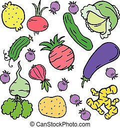 Doodle of vegetable various colorful set