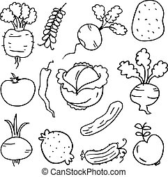 Doodle of vegetables set hand draw