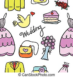 Doodle of wedding element colorful style