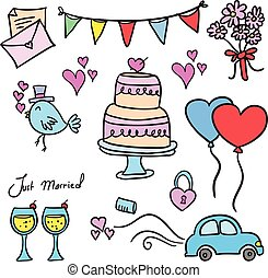 Doodle of wedding element colorful