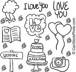 Doodle of wedding illustration style