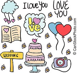 Doodle of wedding object colorful style