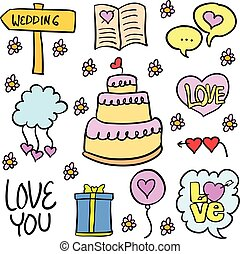 Doodle of wedding object various colorful