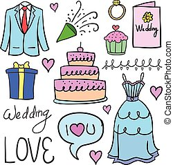 Doodle of wedding party object
