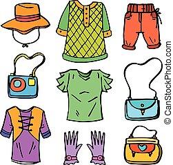Doodle of women clothes set collection