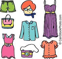 Doodle of women clothes set illustration