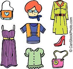 Doodle of women clothes set vector