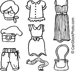 Doodle of women clothes set