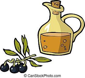 Doodle olives and a bottle of oil