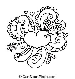 Doodle on Valentine's Day. Isolated template. Vector illustration