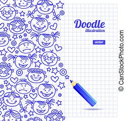 doodle, ontwerp, spotprent, geitje