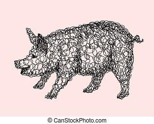 doodle, ontwerp, varken