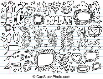 doodle, ontwerp, vector, set, aantekenboekje