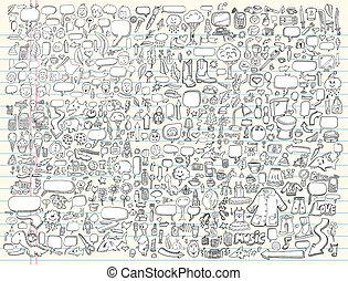 doodle, ontwerp, vector, set, communie