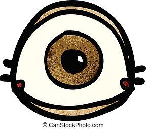 doodle, oog, spotprent, bruine