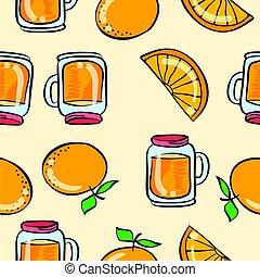 Doodle orange drink theme vector art