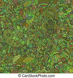 doodle, orientalny, zielony, seamless, tło