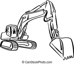 doodle outline front Hoe Loader excavator vector illustration sketch hand drawn with black lines isolated on white background
