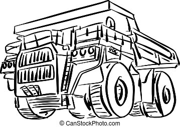 doodle outline front view of big mining truck vector illustration sketch hand drawn with black lines isolated on white background