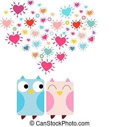 Doodle owls in love