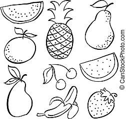 doodle, owoc, komplet, zbiór, świeży
