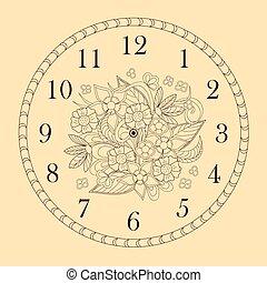 doodle, ozdobny, twarz, kwiaty, zegar