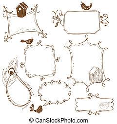 doodle, pássaro, casas, doce, bordas, pássaros