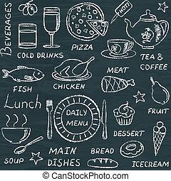 doodle, padrão, elementos, seamless, menu