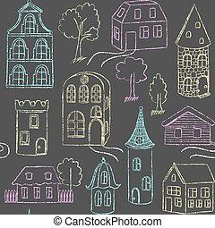 doodle, padrão, seamless, casas