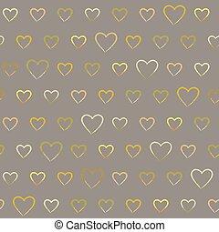 doodle, padrão, seamless, corações