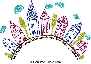 doodle, -, pagórek, ilustracja, domy