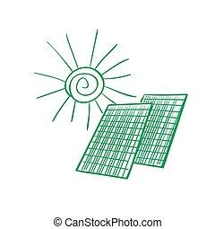 doodle, painéis, solar
