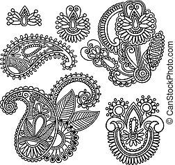 doodle, paisley, vector, bloemen, illustratie