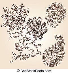 doodle, paisley, wektor, henna, kwiat