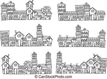 doodle, panoramisch, set, stad