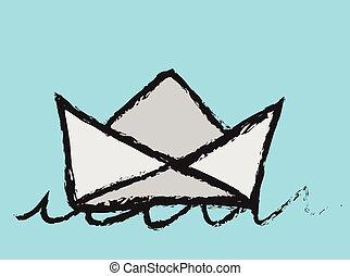 doodle paper ship boat