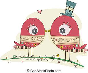 doodle, par, pássaros