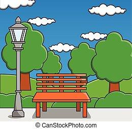 doodle, park, rysunek, ilustracja