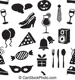 doodle party seamless pattern