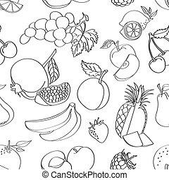Doodle pattern fruit