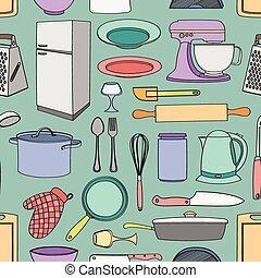 Doodle pattern kitchen
